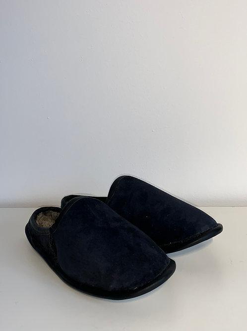 Pantoufle suède bleu et mouton