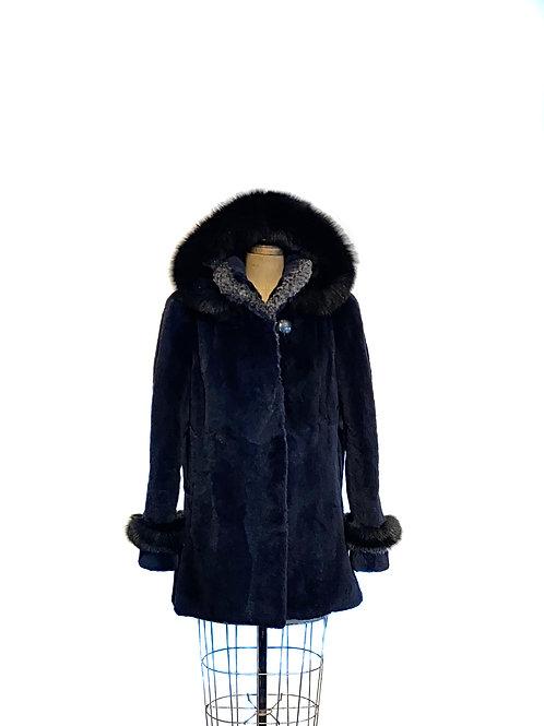 Manteau Raton Laveur teint Navy