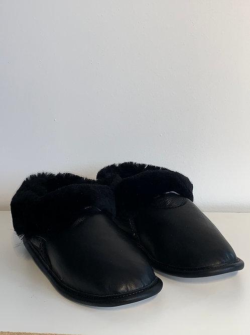 Pantoufle cuir et mouton noir