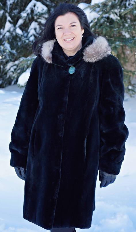 Manteau castor rasé 'emeraude'
