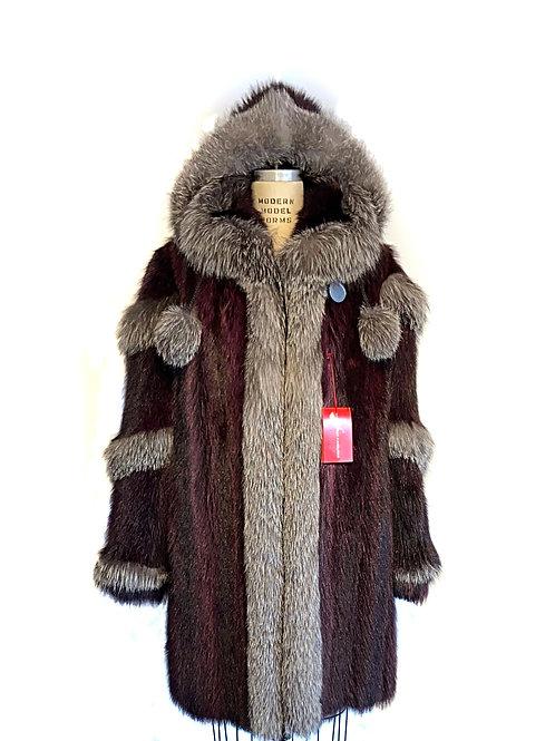 Manteau Raton Laveur teint framboise