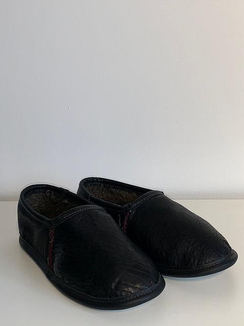 Pantoufle cuir noir