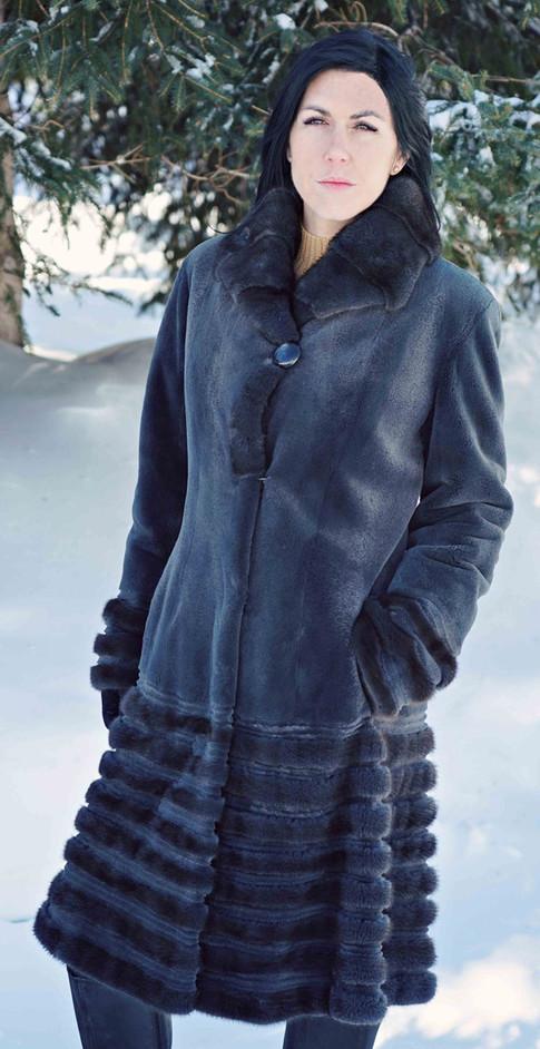 Manteau vison rasé gris