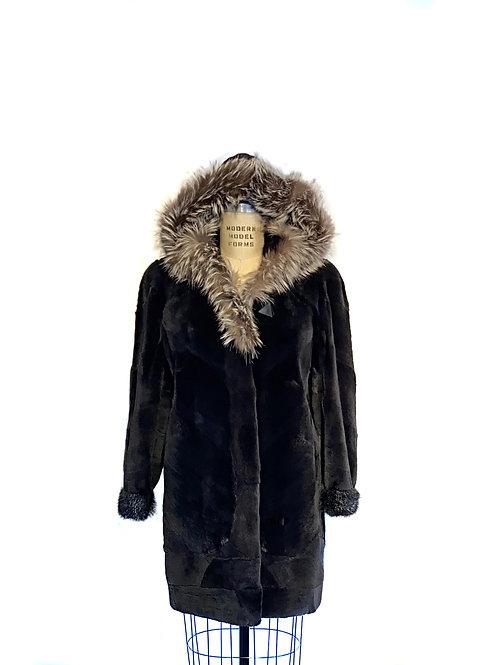 Manteau Rat Musqué rasé teint 'Onyx'