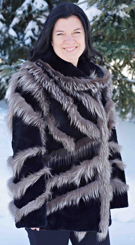Manteau castor & renard argente