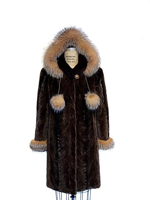 Manteau de pattes de Vison rasé