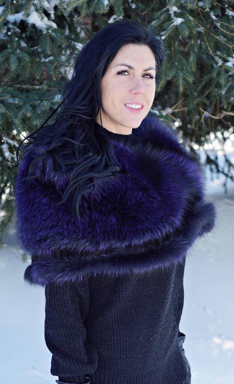 Étole renard argenté teint 'Violet'