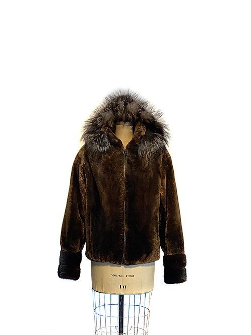 Manteau Loutre du Labrador, style Bomber