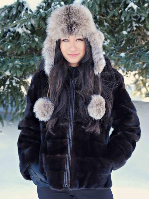 Manteau vison brun & chapeau lynx