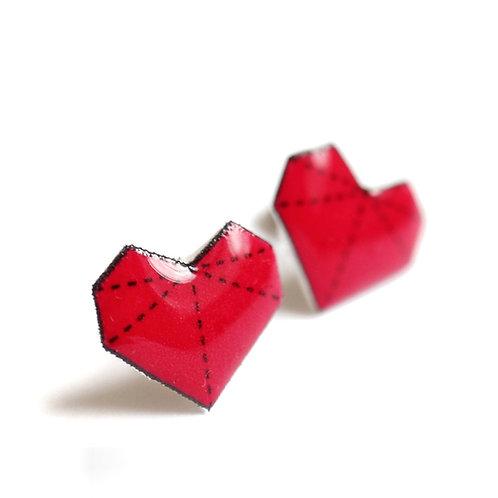 Srdíčka origami - Naušnice pecky