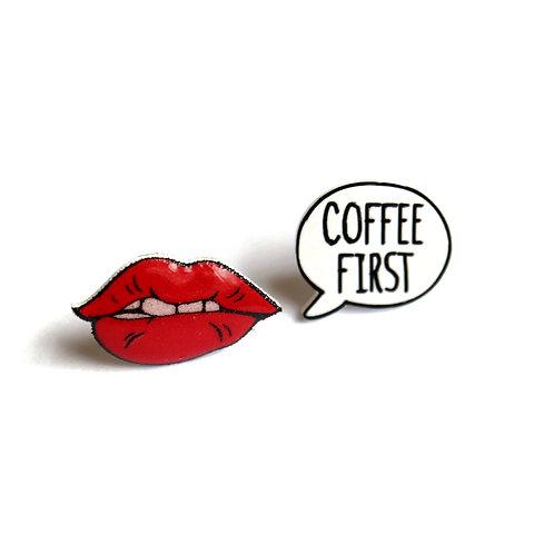 COFFEE FIRST - náušnice puzetky