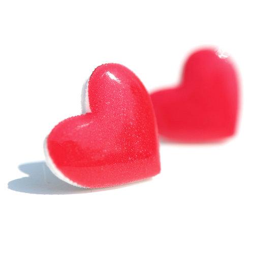 Srdíčka karmínová - Naušnice pecky
