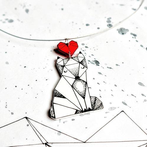 ZAMILOVANÁ LIŠKA - malovaný náhrdelník