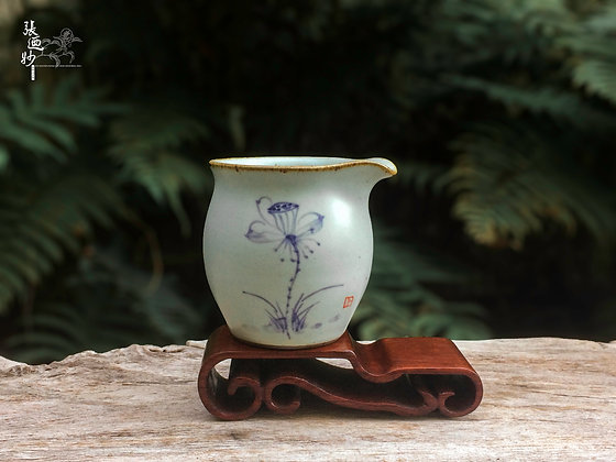 Ru-Kiln Pitcher with Hand-Painted Lotus