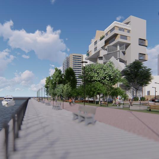 建築及愛河徒步區