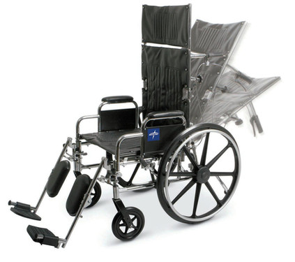 Reclining wheelchair with elevating leg rest