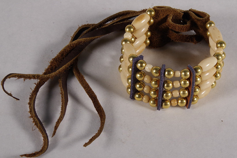Bracelet - Bone, Brass Bead & Leather