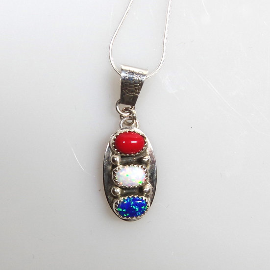 Necklace -Sterling Silver with Coral and Opals