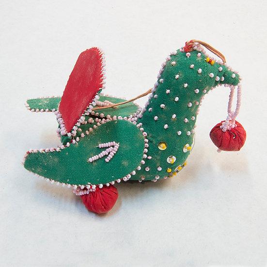Beaded Green & Red Bird  (96:10)