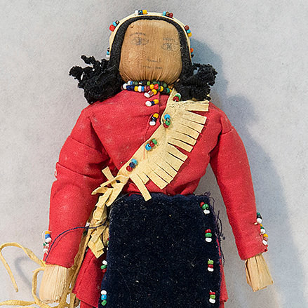 Cornhusk Doll in Red & Black Clothing with Leather Sash (85:144)