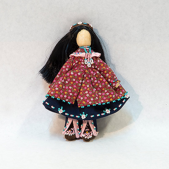 Cornhusk Doll in Red Calico Dress (83:100)