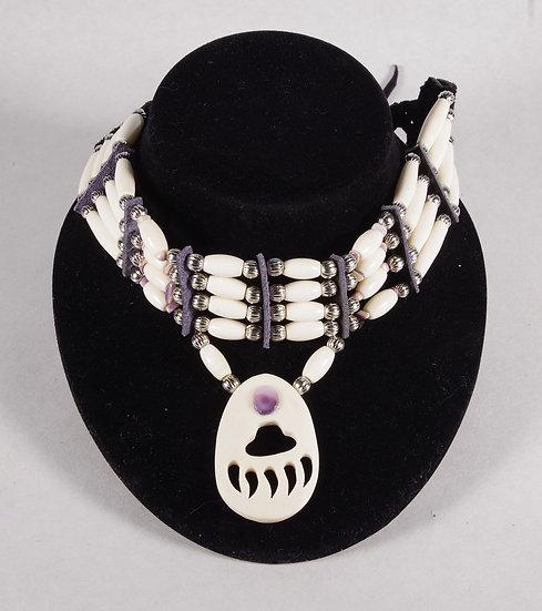 Choker Necklace - Bone & Silver Beads