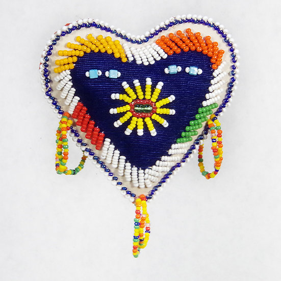 Beaded Blue Heart Cushion (81:53)