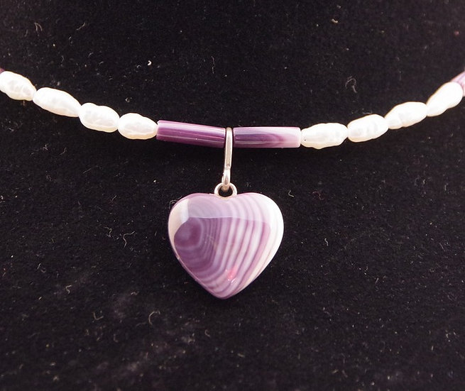 Necklace - Wampum Heart & Pearls