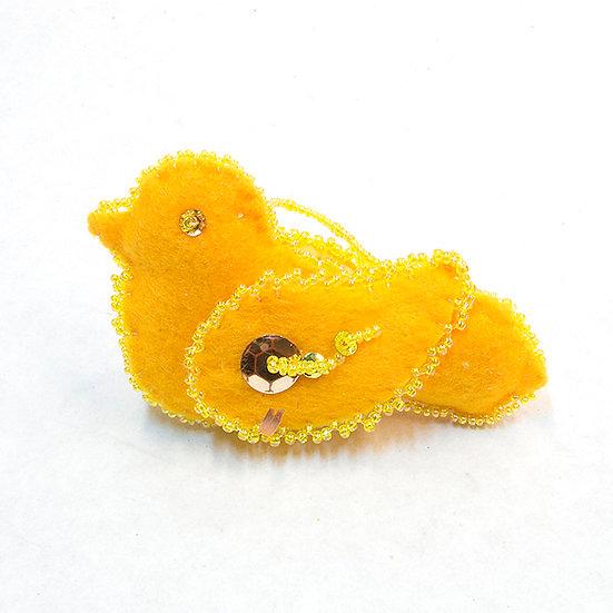 Small Yellow Felt Bird