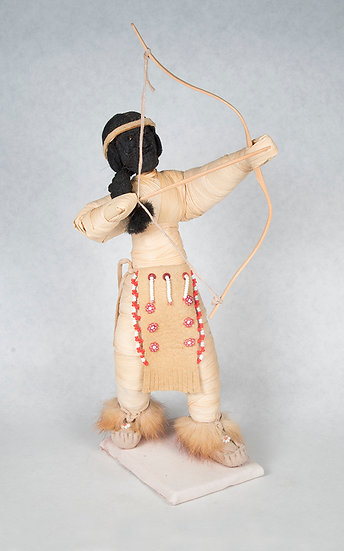 Apple Face Cornhusk Doll with Bow and Arrow