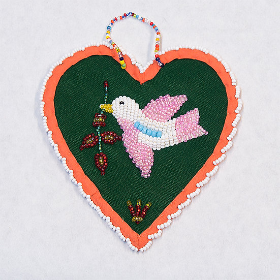 Beaded Green Heart with Dove (82:523)