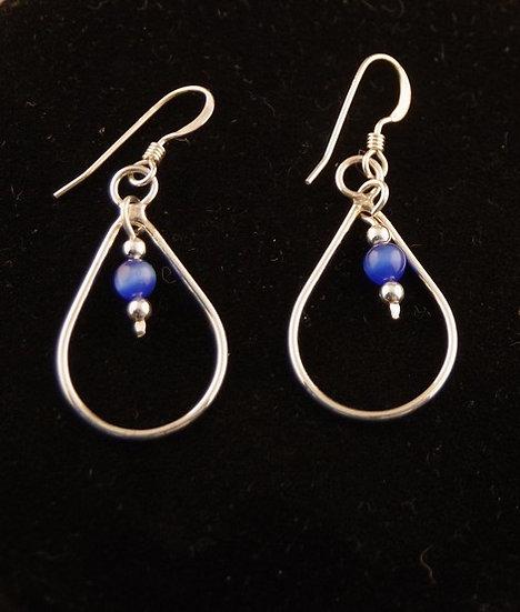 Earrings - Sterling Silver & Blue Stone