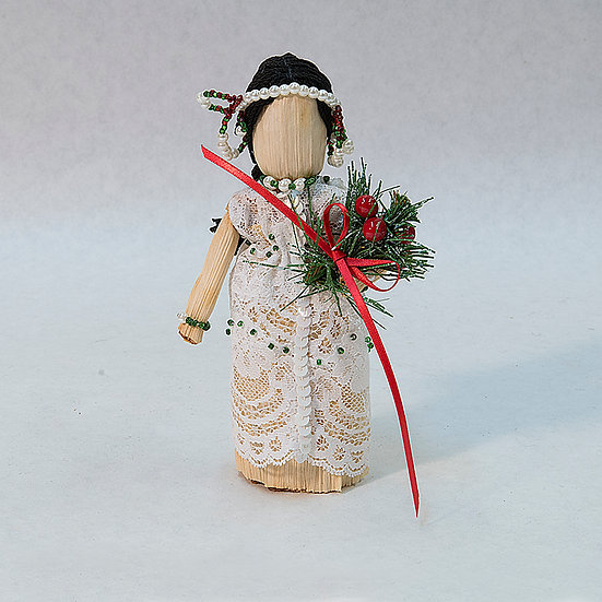 Cornhusk Doll in Christmas Outfit (93:38)