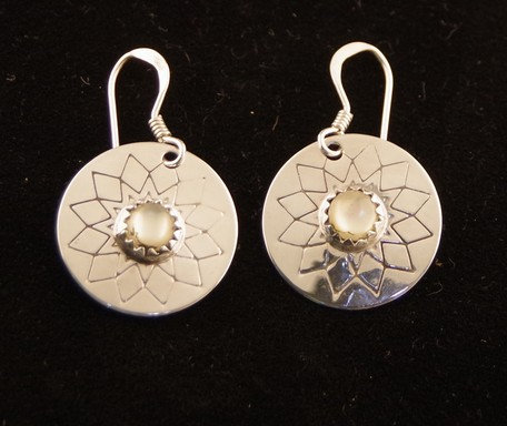 Earrings - Sterling Silver & Mother of Pearl