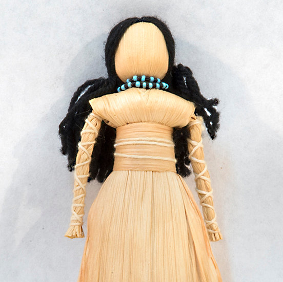 Cornhusk Doll with Black Yarn Hair (16:22)