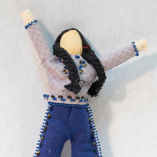 Cornhusk Doll Wearing Blue Clothing (85:82)