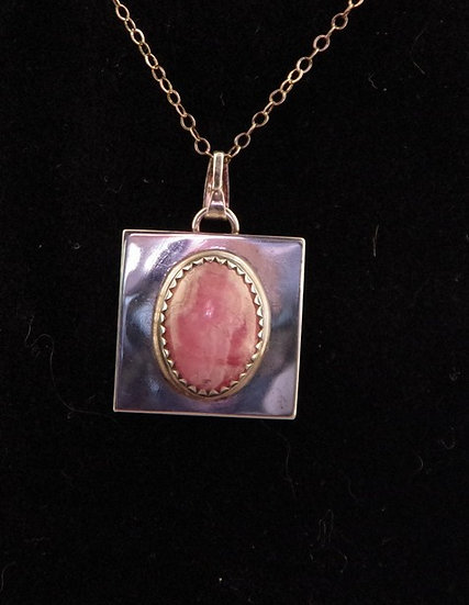 Necklace - Sterling Silver & Pink Mussel Shell