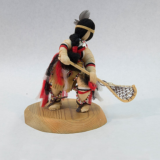 Cornhusk Doll Playing Lacrosse (90:128)