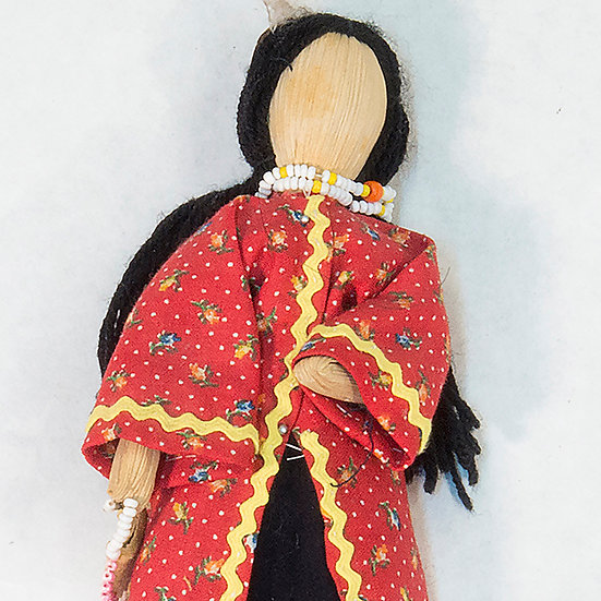 Cornhusk Doll in Red and Black Clothing (85:152)