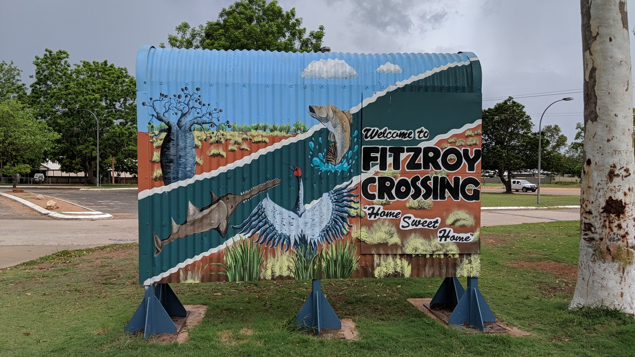Welcome to Fitzroy Crossing Sign