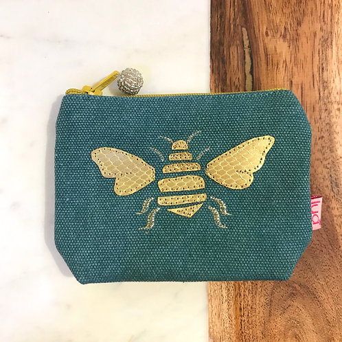 Teal Bee Coin Purse