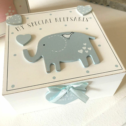 Baby Boy Keepsake Box Elephant Blue Heart Ribbon