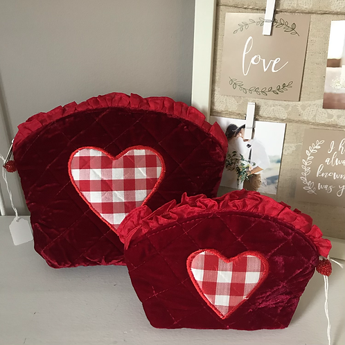 Gingham Heart Cosmetic Bags