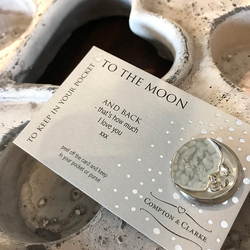 Love You To The Moon And Back Pewter Pocket Charm Keepsake Gift Front View