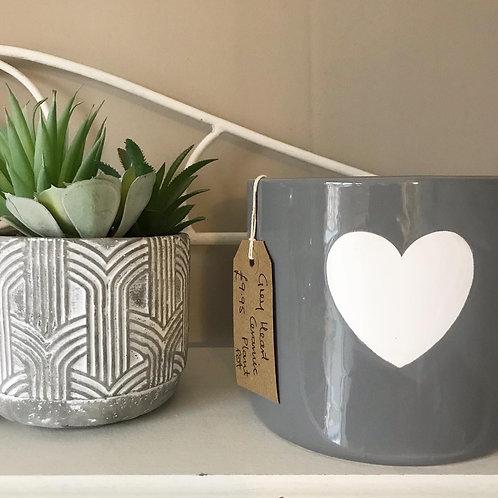 Ceramic Grey Heart Plant Pot