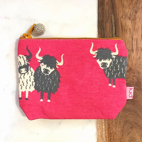 Hot Pink Highland Cow Coin Purse
