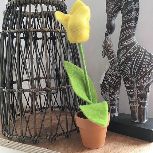 Pretty Felt Tulip - Yellow