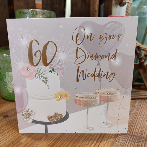 Anniversary Belly Button Design Greeting Card 60 Diamond