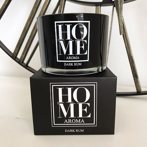 Dark Rum Triple Wick Home Aroma Scented Candle Black Front View With Gift Box