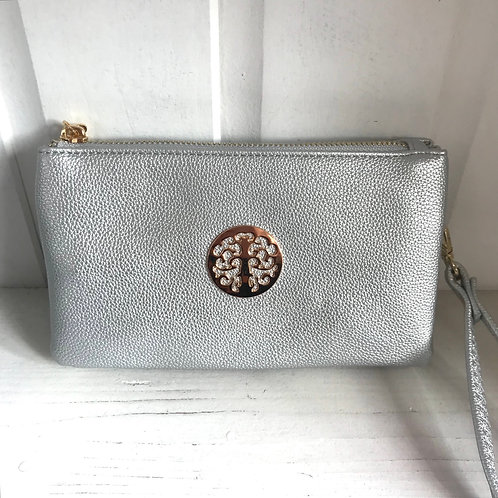 Silver Clutch Bag Front View
